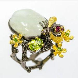 Gorgeous art bee flower genuine aquamarine ring